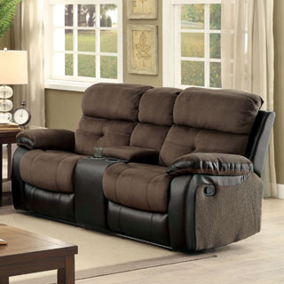 Furniture of America Fawnie Two-Tone Champion Fabric/Leatherette Reclining Loveseat with Console