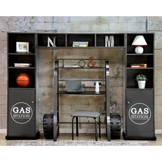 Furniture of America Born Racer 3-piece Metal Storage Cabinet and Shelf Set