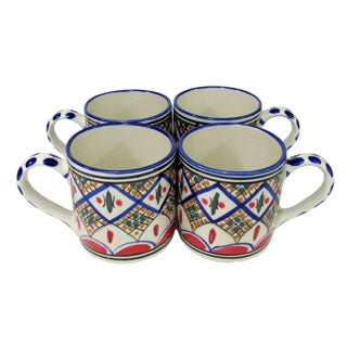 Set of 4 Le Souk Ceramique 'Tabarka' Stoneware Coffee Mugs (Tunisia)