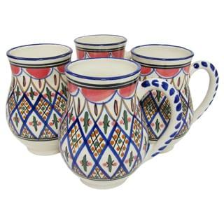 Set of 4 Le Souk Ceramique 'Tabarka' Large Stoneware Mugs (Tunisia)