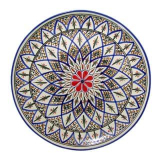 Round Stoneware Platter  Tabarka Design, by Le Souk Ceramique