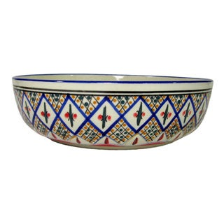 Le Souk Ceramique Tabarka Design Wide Stoneware Salad/Pasta Bowl (Tunisia)