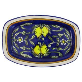 Handmade Le Souk Ceramique Citronique Design Rectangular Stoneware Platter (Tunisia)