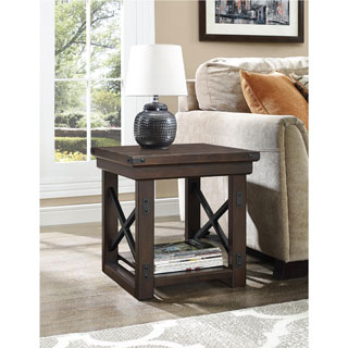 The Gray Barn Latigo Wood Mahogany Veneer End Table