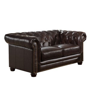 Kensington Top Grain Leather Chesterfield Loveseat with Feather Down Seating