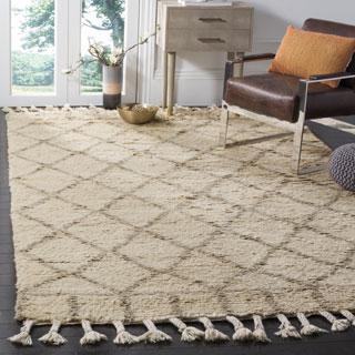 Safavieh Handmade Casablanca Ivory / Light Grey Wool / Cotton Rug (9' x 12')