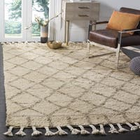 Safavieh Handmade Casablanca Ivory / Light Grey Wool / Cotton Rug (9' x 12')