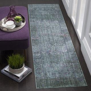 Safavieh Mystique Watercolor Purple/ Multi Silky Runner Rug (2' 3 x 8')