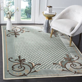 Martha Stewart by Safavieh Scrollwork Blue Viscose Rug (4' x 5' 7)