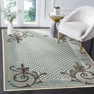Martha Stewart by Safavieh Scrollwork Blue Viscose Rug - 4' x 5' 7