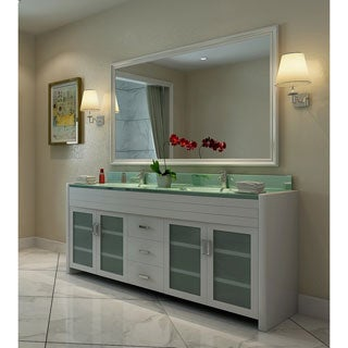 Design Element Waterfall White 72-inch Double-sink Vanity Set