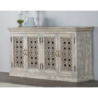 Kosas Home Hepburn 4-door Antique White Mango Wood Sideboard