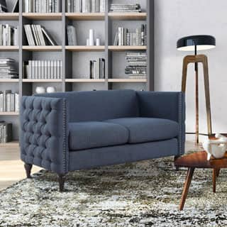 Furniture of America Clara Tuxedo Linen Tufted Nailhead Loveseat|https://ak1.ostkcdn.com/images/products/P19462891m.jpg?impolicy=medium
