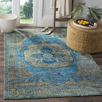 Safavieh Hand-Knotted Tangier Teal / Beige Wool Rug (5' x 8') - 5' x 8'