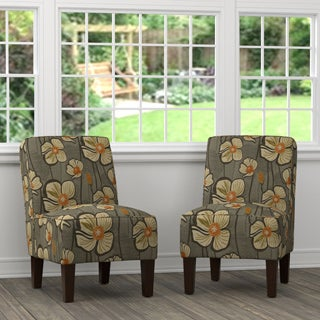 Handy Living Brodee Brown and Orange Floral Armless Chairs (Set of 2)