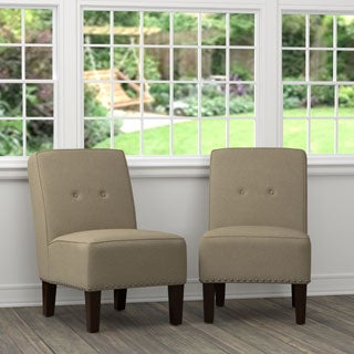 Handy Living Brodee Toast Brown Linen Armless Chairs (Set of 2)