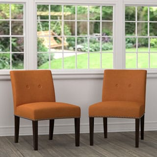 Handy Living Nate Orange Linen Armless Chairs (Set of 2)
