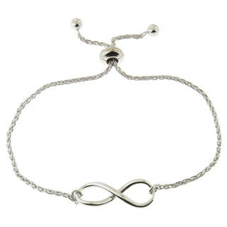Sterling Silver High Polish Infinity Adjustable Slide Lock Bracelet (Italy)
