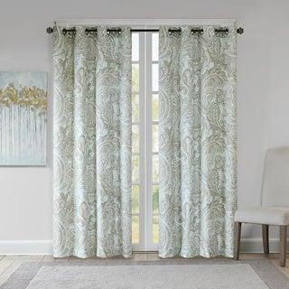 Madison Park Dermot Blue Cotton Printed Paisley Curtain Panel