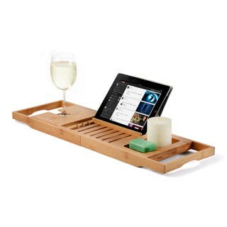 Bambusi Bathtub Caddy Tray w Extending Sides, Reading Rack, and More