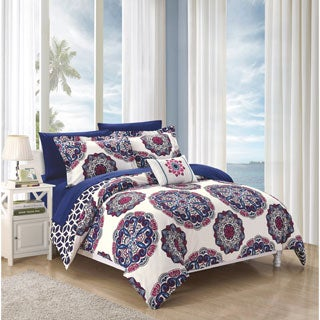 Chic Home Catalonia Navy 8-piece Bed-in-a-Bag Comforter Set