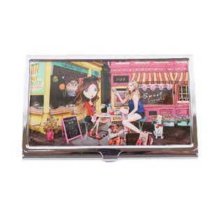 Nicole Lee 'Cupcake Girl' Signature Print Stainless Steel Metallic Business Card Case