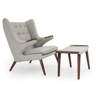 Kardiel Wegner-Style Papa Bear Walnut Wingback Chair and Ottoman