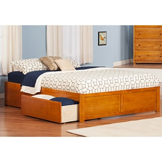 Concord Queen Flat Panel Foot Board with Drawers in Caramel Latte