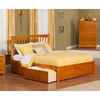 Mission Caramel Brown Wood King-sized Platform Bed with Drawers