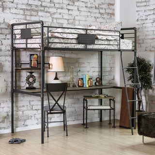 Furniture of America Herman Industrial Antique Black Twin Loft over Workstation Bunk Bed