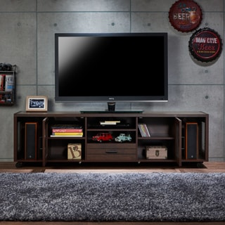 Furniture of America Misenia Industrial Style Vintage Walnut Storage Entertainment Center