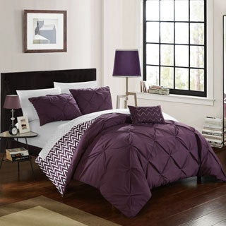 Erin Purple Pintuck Chevron Microfiber 8-Piece Bed-in-a-Bag with Sheet Set