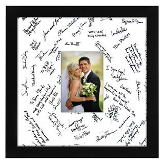 14 x 14-inch Black Glass Wedding Picture Frame for 5 x 7-inch Pictures with Matt or 14 x 14-inch Pictures without Mat