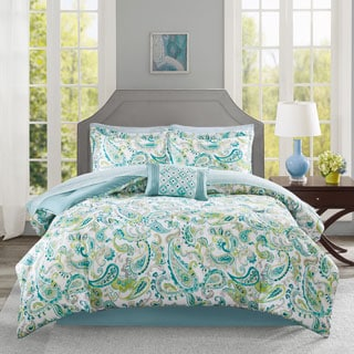 Madison Park Essentials Kiley Aqua Complete Comforter and Cotton Sheet Set