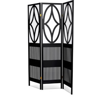 LYKE Home Black/ White Wood Art Deco Tri-fold Room Divider