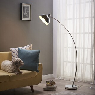 Teamson Versanora-Arco Silver-finished Copper, Plastic, PVC, and Metal Floor Lamp With Chrome-finished Shade