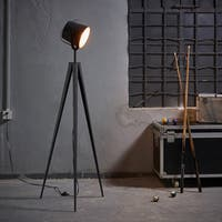 Teamson Versanora Artiste Black and Rose Gold Finish Tripod Floor Lamp with Shade