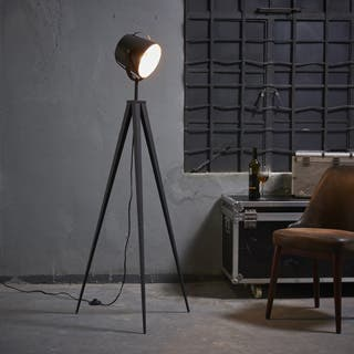 Industrial floor lamps for less overstock versanora artiste tripod floor lamp with black and gold finish aloadofball Image collections
