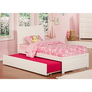 Soho White Twin Flat-panel Built-in Trundle Bed