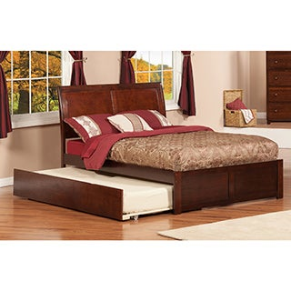 Portland Walnut Brown Panel Full-size Bed with Trundle Bed
