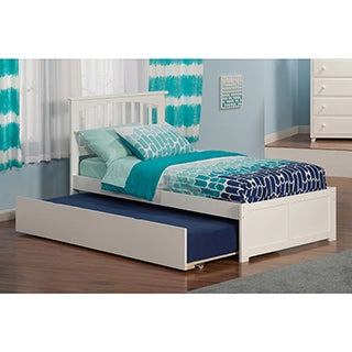 Atlantic Kids' Mission White Twin Flat-panel Footboard Platform Bed with Urban Trundle
