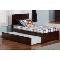 Madison Walnut Twin Flat Panel Foot Board Trundle Bed