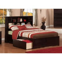 Newport Full Platform Bed with Flat Panel Foot Board and 2 Urban Bed Drawers in Espresso