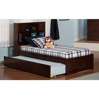 Atlantic 'Newport' Walnut-finish Wood Twin Bed with Flat-panel Foot Board and Urban Trundle - Brown