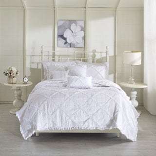 Madison Park Wendy White Cotton Percale Coverlet 6 Piece Set