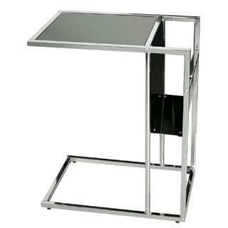 LYKE Home Black and Chrome-finished Metal and Glass Magazine Rack End Table