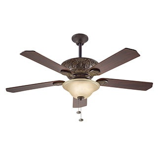 Kichler Traditional 52-inch Tannery Bronze Ceiling Fan with Light with Reversible Fan Blades