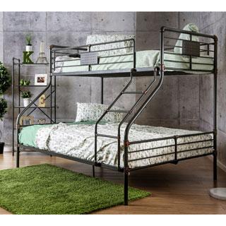 Furniture of America Herman Industrial Antique Black Twin over Queen Bunk Bed
