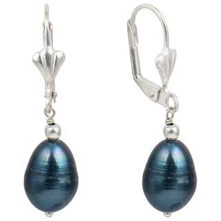 "Dyed Black Cultured Freshwater Pearl 1.5"" Long Dangle Earrings"