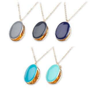 """Mint Jules Enamel Oval Picture Locket 24-26"""" Necklace